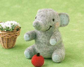 DIY handmade Wool Felt kit Little Elephant -  Japanese kit package H441-462