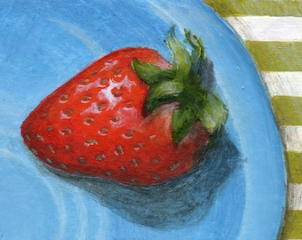 Original Mini Painting, Original ACEO Still Life Painting of Strawberry, Food Art Kitchen Decor