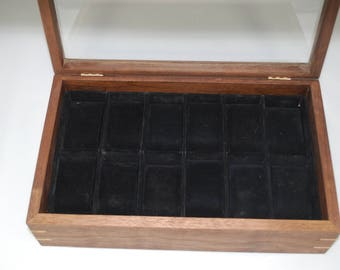 Watch Box with glass top - Holds 12 watches -