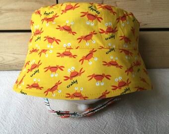 Baby Sun Hat, BUCKET HAT, Sun Hat, Fishing Hat, New Born Sun Hat, Beach Hat, Crab Hat, Baby Sun Hat, Chin Strap Hat Baby, Toddler Hat