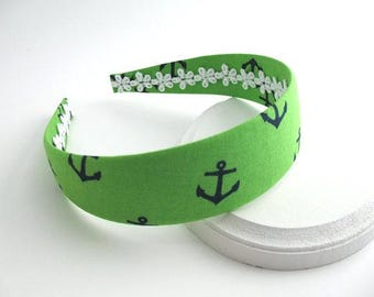 Girls / Womens Preppy Nautical Womens Headband, Green / Navy Anchor Fabric Covered Headband, Hard Plastic Headband