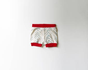 SALE | 50% OFF | Size 0-3 Months | Chevron | Organic Shorties | Shorts | Screen Printed | Organic Baby Clothes | Girl | Mint & Red | Hipster