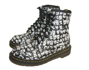 Vintage Doc Martens AirWair Boots Rare Limited Edition Andy Warhol Black and White Pop Art  8 Eyelet Combat Boots Made in England Wms Size 6