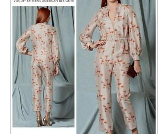 Vogue Jumpsuit Pattern V1523 by RACHEL COMEY - Misses' V-Neck, Bishop Sleeve Jumpsuit and Belt - Vogue American Designer Series