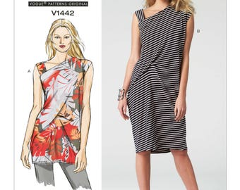 """Vogue Pattern V1442 - Today's Fit by SANDRA BETZINA - Misses' Side-Drape Tunic and Dress - All Sizes/Bust 32"""" - 55"""""""
