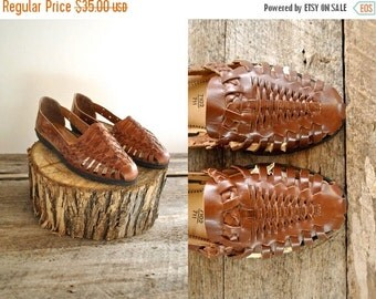 25% off sale - Huarache Sandals  Sz 9.5  //   Woven Leather Sandals Sz 9 1/2 wom  //  WALK the WALK