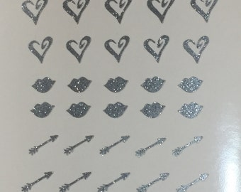 Valentines Love mix glitter Toe nail / finger nail art / tattoos / decals / stickers / pedicure hearts arrows lips love