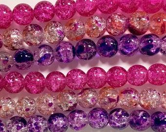 Crackle Glass Bead Mix, 3 Strand Mix, 10mm Crackle Glass Beads, Purple and Pink Mix, Glass Bead Lot, Assorted Glass Beads