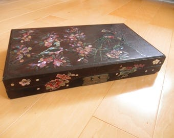 Shabby Vintage Lacquered Box with Inlaid Abalone Birds and Flowers