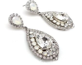 wedding jewelry bridal bridesmaid gift prom party christmas teardrop cubic zirconia swarovski white opal crystal fancy rhinestone earrings