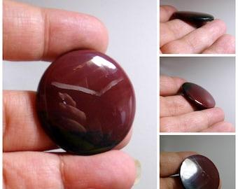 Round Bloodstone Hand Cut Gemstone Cabochon 35 mm