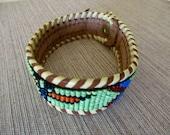 "vintage leather and beaded bracelet -  8"", western, native american, thunderbird, southwestern, cowgirl"