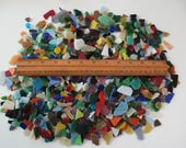 2+ pounds of glass pieces - mosaic, colored, clear