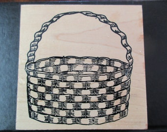 vintage rubber stamp mounted on wood - woven basket, Easter basket