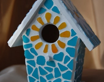 Mosaic Birdhouse Ornamental Stained Glass