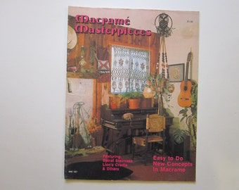 vintage book - MACRAME MASTERPIECES - circa 1970s - spiral staircase, lion's cradle, and more