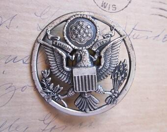 vintage Enlisted Eagle hat badge pin - screwback
