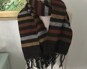 Vintage Smithsonian Striped Wool Scarf Brown made In Italy 1990s Mens Winter Fashion Winter Accessories Unisex Long Scarf Gifts for Him