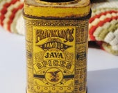 Antique/Vintage Franklin's Famous Java Spice Tin - Antique Tins, Spice Tins, Gold, Mustard, Mixed Media Supplies, Assemblage Art, Dolls