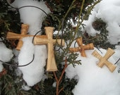 RESERVED for A.W. - Three + Bonus Traditional Wood Crosses with Leather Cordings