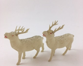Vintage Celluloid Glitter Reindeer
