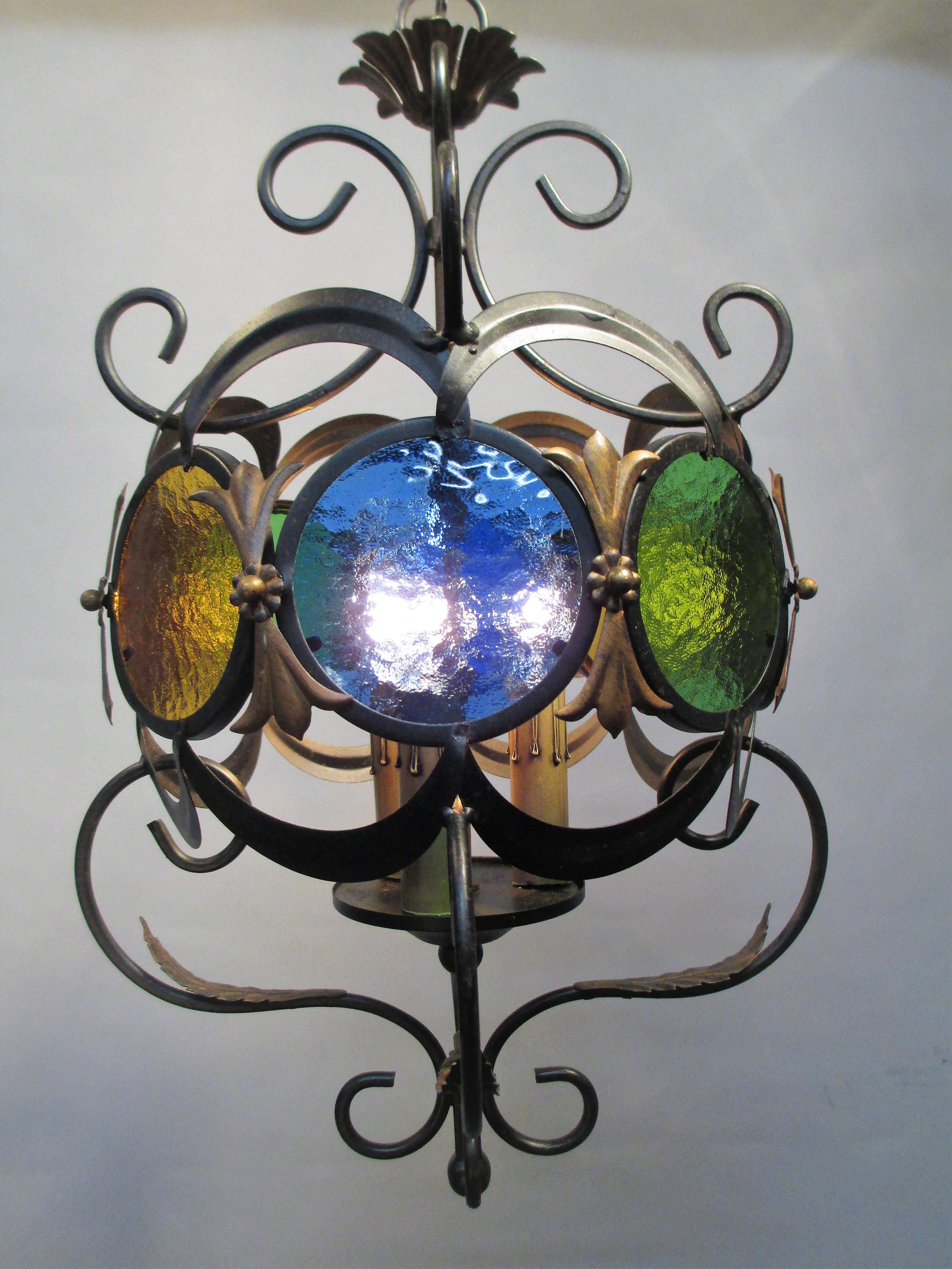 Vintage Antique Boho Chandelier Ceiling Light Italian Gothic