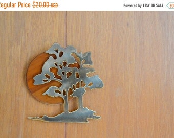SALE 25% OFF vintage wood and brass tree wall hanging / house of lloyd home decor / mid century modern / retro home decor / nature