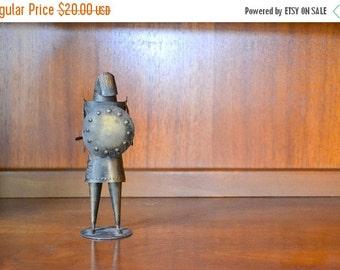 SALE 25% OFF vintage mid century brushed tin knight figurine / metal figurine / medieval home decor