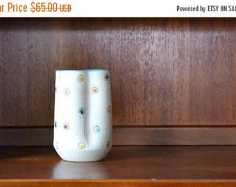 SALE 25% OFF vintage midcentury modern polka dot italian pottery vase
