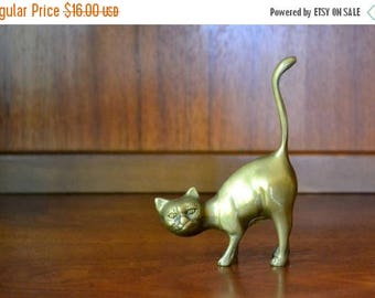 SALE 25% OFF vintage brass cat figurine / brass home decor accents / metal kitty cat