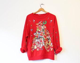 Vintage Ugly Crazy Teddy Bear Christmas Sweater Sweatshirt