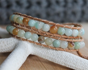 Leather Wrap Bracelet, Amazonite Gemstone Beads, Double Wrap Bracelet, Gemstone Bracelet, Boho Chic, Bohemian, Beach, Bracelet