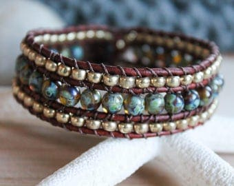 Marble Picasso and Gold Beaded Wrap Bracelet, 3 Row Cuff, Country Boho, Boho Chic, Leather Jewelry, Button Bracelet, Wrap Bracelet