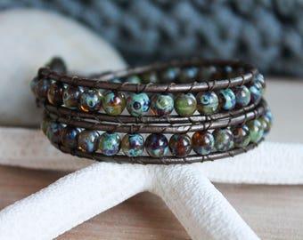 Leather Wrap Bracelet, Picasso Czech Glass Beads, Wrap Bracelet, Bracelet, Boho Chic, Bohemian, Beach, Bracelet, Leather Bracelet, Brown
