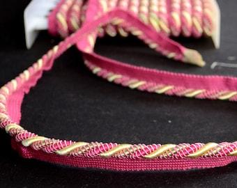 Hot Pink Green Gold Lip Cord Fabric Trim CT300 101