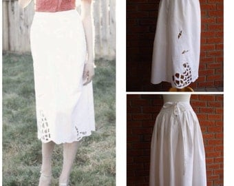 White Spring Summer Pin Up Skirt / Vintage 50s Fashion Style / Cut Out Floral Pattern / High Fashion One Of A Kind Skirt