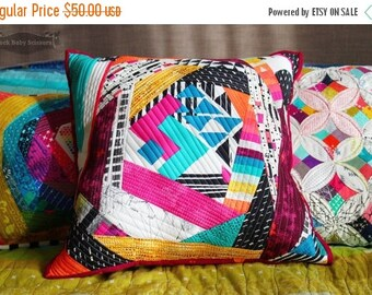 Quilt as you go Avant Garde throw pillow with Loominous backing
