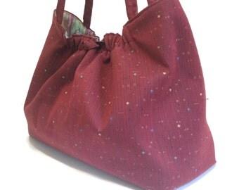Red Upholstery Tote Shoulder Bag Knitting Project Bag Upholstery Bag Inside Pocket Button Closure Travel Bag Knitting Bag