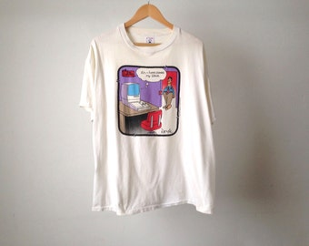 vintage 90s COMPUTER anti technology tshirt made in USA dilbert style the far side gary larson huge xl shirt