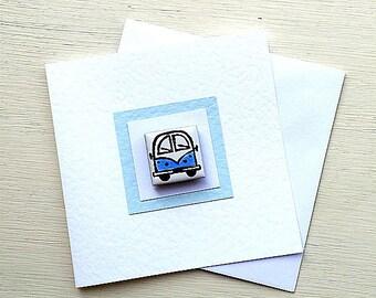 Campervan Card Blue, Combi, VW, Birthday Card, Greeting Card, Blank Card, Magnet Card, Boys Card