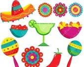ON SALE Fiesta Cute Digital Clipart, Spanish Mexican Clipart, Mexican Graphics, Cinco de Mayo Graphics, Sombrero Clip art, Fiesta Clip Art,
