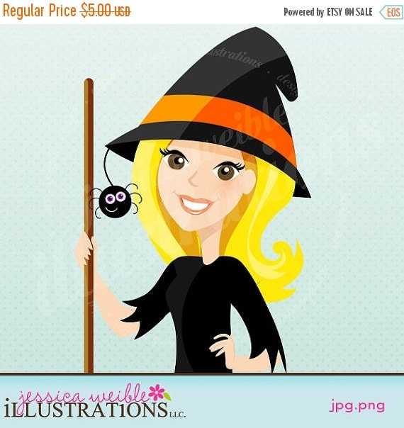ON SALE Halloween Witch Character Illustration, Cartoon Illustration, Woman in Witch Costume, Halloween Character