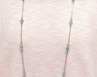 "42"" Aqua Sea Glass Necklace Set #20302"