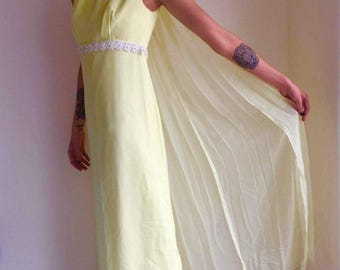 vintage 60s maxi dress lemon yellow sleevekess chiffon train empire waist daisy bodice size small SASHA