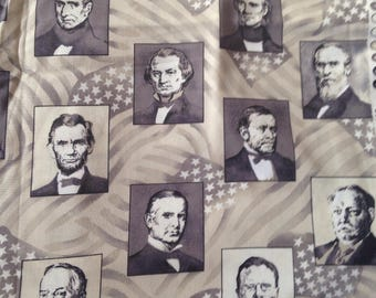 United States Presidents Cotton Quilting Fabric USA America Presidential