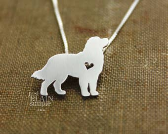 Bernese mountain dog necklace sterling silver, tiny silver hand cut dog pendant with heart