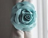 Dusty Blue Rose Rustic Farmhouse Curtain Tie-Backs/ Shabby Chic Teal Curtain hold-Backs / Nursery Window Treatment / Curtain Tie Set of Two