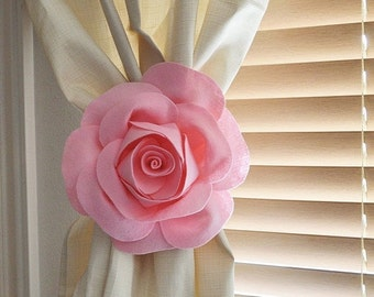 SALE ONE Rose Flower Curtain Tie Backs Curtain Tiebacks Curtain Holdback -Drapery Tieback-Baby Nursery Decor-Light Pink Decor