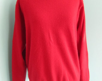Womens Pullover Red Cashmere Long Sleeved Sweater