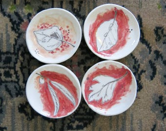 Set of 4 Tiny Ceramic Trinket Dishes Woodland Leaves Hand Drawn Fine Art One of a Kind Home Decor, Handmade Pottery by Licia Lucas Pfadt